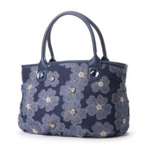 サボイ SAVOY デニム地に花柄を合わせたバッグ (ブルー)|ブランド公式 LOCOMALL ロコモール