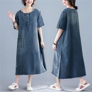 ワンピース デニムサロペット レディース 綿 コットン半袖 ゆったり Aライン 体型カバー スカート オーバーオール 薄手|locoprime