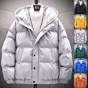 ダウンジャケット メンズ 厚手 おしゃれ 中綿ダウンジャケット ジャケット フード付き 無地 防風 防寒着 大きいサイズ|locoprime