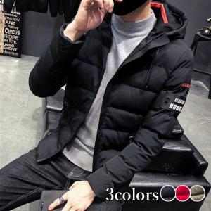 ダウンコート メンズ ジャケット ハイネック フード付き ブルゾン 大きいサイズ 中綿コート 冬アウター 無地 プリント 防風 防寒着 暖かい 秋冬 2019|locoprime