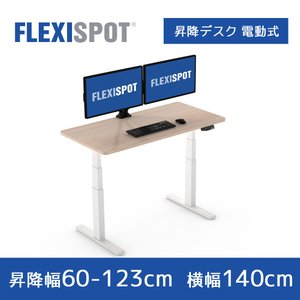 FlexiSpot 電動式スタンディングデスク書房書斎テーブル 高さ調節ワークテーブル 天板140*...