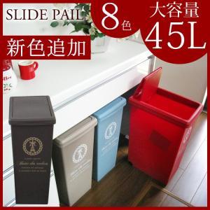 ゴミ箱 45L おしゃれ スライドペール 45L 分別 大容量ごみ箱 ごみばこ ダストボックス おしゃれ ふた付き 北欧 屋外 キッチン デザイン かわいい ゴミ箱 ごみ箱|logi-mart