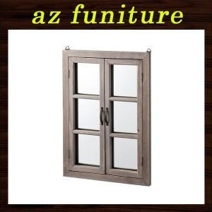 ウォールミラー 鏡 ミラー 壁掛けミラー 壁掛鏡 玄関ミラー インテリア雑貨 ディスプレイ雑貨 店舗什器 木製 窓型 開閉式 扉付き おしゃれ かわいい|logical-japan
