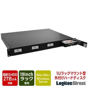 1Uラックマウント外付けHDD 外付けハードディスク 2TB×4台 USB3.1(Gen1) / USB3.0 LHD-1U4B080U3R 受注生産品(納期目安2〜3週間)|logitec