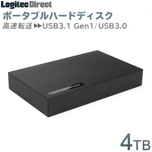 外付けHDD ポータブル テレビ録画 4TB USB3.1(Gen1) / USB3.0 ハードディスク ロジテック LHD-PBR40U3BK|logitec