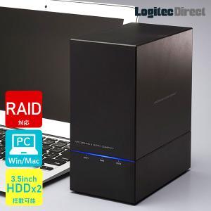 HDDケース 2台搭載可能 3.5インチ SATAハードディスク対応 RAID機能搭載 USB3.1(Gen1) / USB3.0 ロジテック LHR-2BRHU3|logitec