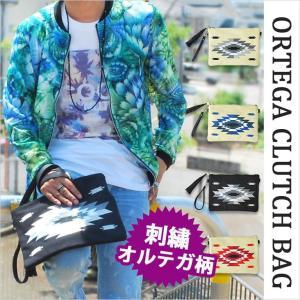 クラッチバッグ メンズ オルテガ柄 オルティガ柄 ネイティブ 刺繍 鞄 バッグ カバン かばん セカンドバッグ ショルダーバッグ 白 ホワイト 黒 ブラック|lohas-online