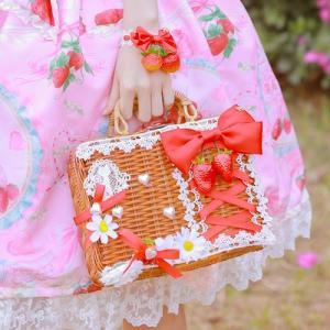 真っ赤ないちごリボン かごバッグA バッグのみ販売 甘ロリ 姫ロリ カバン リボン かわいい お茶会 森 ピクニック loliloli