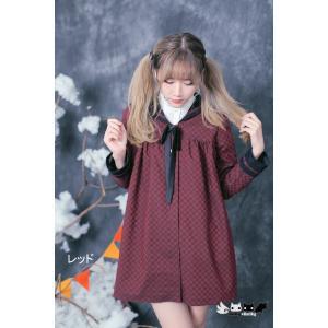 Dolly Delly ロリータ チェス柄 春秋コート セーラーカラー 制服風 クラシカル クラロリ 普段使い リボン ボタン|loliloli