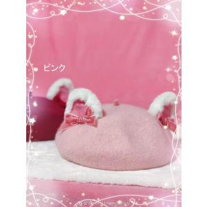 Wheat House 猫耳ベレー帽 帽子 羊毛混紡 秋冬 甘ロリねこ かわいい ロリータ リボン ヘッドドレス loliloli