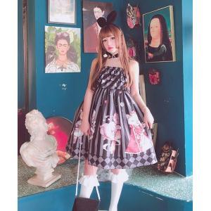 Diamond Honey ロリータ ジャンパースカート ジャンスカのみ JSK チェシャ猫 猫 ストライプ フリル アリス loliloli