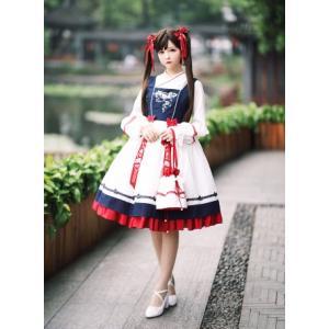 ロリータ SIKA LOLITA 華ロリ ジャンパースカート ジャンスカのみ 中華風 宮廷 アジアン リボン 刺繍 loliloli