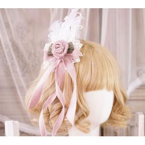ロリータ 貴婦人の羽ヘアクリップ ヘッドドレス ヘアアクセサリー ピンク レース リボン 姫ロリ ロリータ小物 loliloli