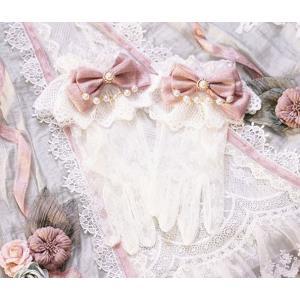 ロリータ 貴婦人のレースグローブ カフス付き 手袋 レース 姫ロリ 貴族 上品 ピンク リボン 宮廷 甘ロリ loliloli