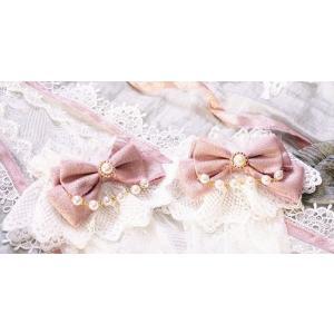 ロリータ 貴婦人のレースカフス カフスのみ ブレスレット アクセサリー ピンク レース リボン 姫ロリ ロリータ小物 loliloli