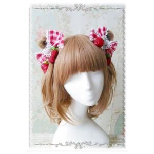 ロリータ ストロベリー 髪飾り2個セット ギンガムチェック レッド いちご 春夏 リボン かわいい カジュアル キュート フリーサイズ おでかけ おめかし|loliloli