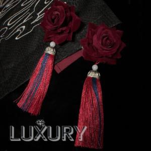 フラワーヘアクリップ 2個セット フリンジ 通年 レトロ アンティーク 華ロリ おしゃれ ヘアアクセサリー ヘッドドレス ボリューム お花 モチーフ フリーサイズ|loliloli