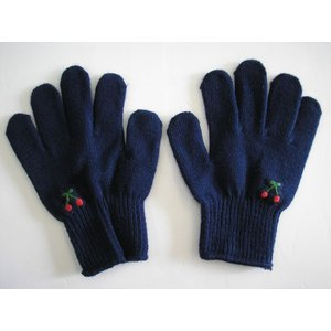 子供用手袋 こども手袋 キッズフリーサイズ手袋 (紺・さくらんぼう手刺繍入り)の画像