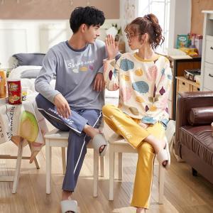 ルームウェア パジャマ カップル お揃い レディース メンズ 上下セット ペア コットン 綿100%  綿素材 長袖 恋人 ご夫婦 寝巻き 部屋着|lolostore