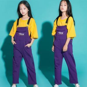 子供 ダンス 衣装 ヒップホップ 女の子 Tシャツ サロペット 夏 HIPHOP ガールズ 2点セット ダンス衣装 練習用 ダンス 衣装応援団 体操服 ステージ衣装|lolostore