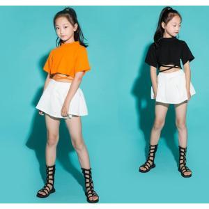 子供 ダンス 衣装 ヒップホップ 女の子 Tシャツ スカート付き  夏 HIPHOP ガールズ ホワイトスカート 2点セット ダンス衣装 練習用 ダンス 衣装|lolostore