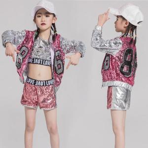 キッズ ダンス衣装 キラキラ スパンコール ヒップホップ HIPHOP セットアップ 女の子 チア チアガール ジャズダンス 練習着 応援団 ステージ衣装|lolostore