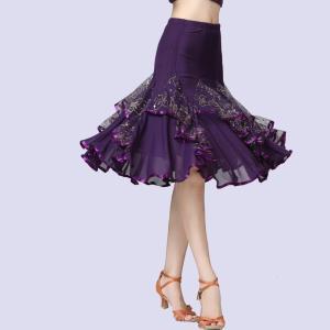 スカート 社交ダンススカート ラテンスカート ダンス衣装 ステージ衣装 膝丈スカート 練習着  ルンバ チャチャチャ 演出 舞台 イベント