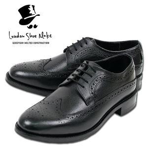 ウィングチップ 革靴 フルブローグ FULL BROGUE LEATHER SHOE グッドイヤーウェルト製法 BLACK|london-game