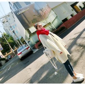 トップス カーディガン ロングカーディガン 冬 新商品 鮮やかな色 ボリューム袖ロングカーディガン ...