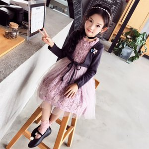 eebbe9bf46952 キッズ 子ども服 子ども服(女の子) アンサンブル風 チュール ワンピース レトロ風 ワンピース 卒園式 入園式 入学式 フォーマル 韓国子供服  送料無料