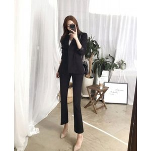スーツ セットアップ レディース ジャケット パンツ タイト ビジネス 2点セット 小さいサイズ 大きいサイズ|londonbridge