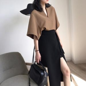 スカート レディース ミモレ丈 スリット入り リボンベルト 巻きスカート風 ボトムス 大きいサイズ 韓国ファッション|londonbridge