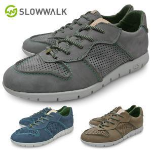 スローウォーク スニーカー メンズ 茶色 灰色 青 本革 送料無料|longpshoe