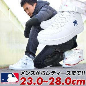 NY ハイカットスニーカー メンズ レディース ニューヨークヤンキース メジャーリーグ 黒 白 赤|longpshoe