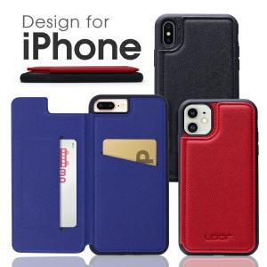 iPhone 11 Pro Max 背面カード収納 XR ケース iPhone8 カバー カードポケット収納 背面手帳型 iPhoneXS カード収納 背面 iPhone7 保護 looco-shop