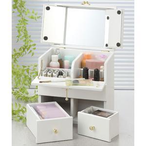 メイクボックス コスメボックス 鏡付き 大容量 持ち運び 三面鏡 ミニドレッサー ボトル 化粧水入る コンパクト 卓上 かわいい 白 化粧品収納 化粧鏡 KPSH-2900 lookit