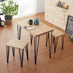 ダイニング3点セット ダイニングテーブル テーブル チェア ダイニングテーブルセット おしゃれ コンパクト 木目調 北欧 62215-85937|lookit