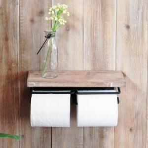 トイレットペーパーホルダー 2連 おしゃれ アンティーク 棚付き トイレ収納 木製 壁掛け 収納 ストッカー 紙巻器 シック ナチュラル シェルフ 送料無料 41-021 lookit