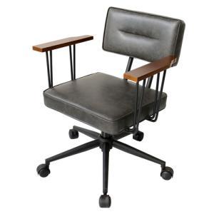 オフィスチェア【FIVE-ファイブ-】 オフィスチェアー 肘掛け チェア 椅子 いす イス デスクチェア パソコンチェア おしゃれ レトロ ブラック  送料無料 42-524|lookit