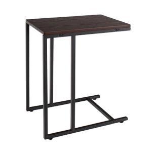 送料無料 サイドテーブル 木製 コの字型 スチール脚 おしゃれ モダン ソファサイド 43-1123|lookit