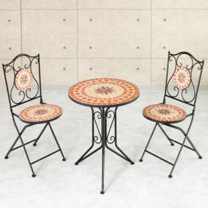 ガーデニング3点セット ガーデンテーブル ガーデンチェア ガーデニング 屋外 庭 ベランダ テラス バルコニー タイル調 折りたたみ おしゃれ 82-646|lookit