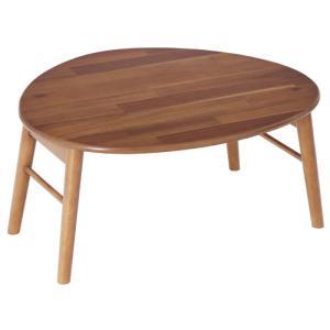 折脚テーブル 三角型 センターテーブル 幅75 おしゃれ 木製 ローテーブル リビングテーブル 北欧 ソファテーブル かわいい シンプル ナチュラル アカシア 82-660|lookit