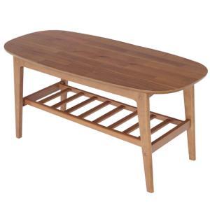 センターテーブル 棚付 幅105 おしゃれ 木製 楕円 ローテーブル リビングテーブル ソファテーブル かわいい シンプル ナチュラル アカシア ブラウン 82-663|lookit