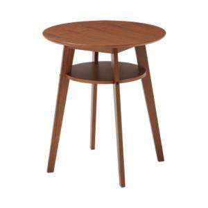 カフェテーブル 木製 棚付き ウォルナット 天然木 カフェ レストラン ダイニング リビング テーブル コーヒーテーブル サイドテーブル 送料無料 SST-990|lookit