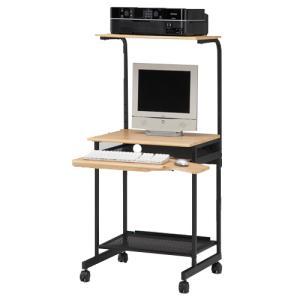 パソコンデスク ハイタイプ 机 PCデスク パソコンラック OAテーブル 事務机 書斎 スライド式 棚付きデスク 省スペース 送料無料 PPR-60H|lookit