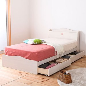 セミダブルベッド 日本製 引き出し 収納 レギュラー ベッド フレーム ワンルーム カントリー かわいい 収納ベッド ナチュラル ローベッド 送料無料 FMB82-SD lookit