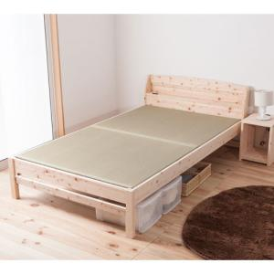送料無料 畳ベッド セミダブル 日本製 ヒノキ コンセント付き 高さ調整 木製ベッド 無塗装 天然木 畳 ベッド 檜 寝室 和 棚付き 国産 い草 TCB243-SD|lookit