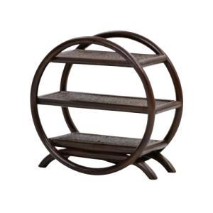 飾り棚 和  ディスプレイラック ミニサイズ コンパクトサイズ アジアン 写真 フィギュア コレクションラック フリーラック ラタン製 籐 マルチラック R410CB|lookit