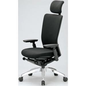 エルゴノミクスチェア ハイバック ヘッドレスト 可動肘付 キャスター付 布張り  回転イス オフィスチェア 事務用椅子 送料無料 R-5575 lookit