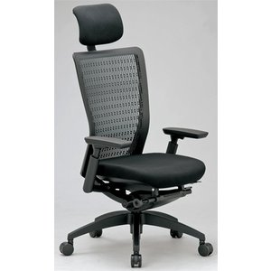エルゴノミクスチェア メッシュ ハイバック ヘッドレスト 可動肘付 キャスター付 布張り 回転イス エグゼクティブチェア 事務用椅子 R-5655 送料無料 lookit